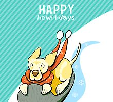 Yellow Lab Modern Howl-i-day Sled Ride by offleashart