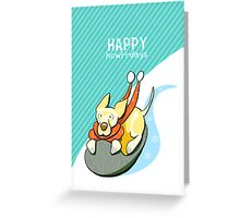 Yellow Lab Modern Howl-i-day Sled Ride Greeting Card