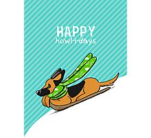 German Shepherd Howl-i-day Sled Ride Photographic Print
