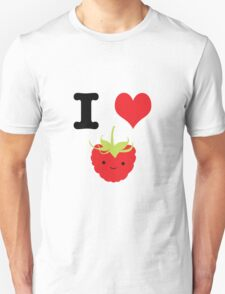 Cute Kawaii I heart Raspberries Unisex T-Shirt