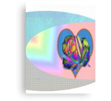 Rainbow rose with heart  Canvas Print