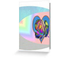 Rainbow rose with heart  Greeting Card