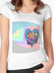 Rainbow rose with heart  Women's Fitted Scoop T-Shirt