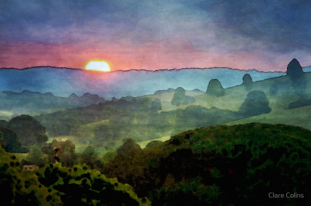Sunset watercolour by Clare Colins