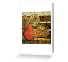 Red Pear & Leaves Greeting Card