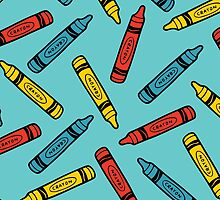 Crayons on Blue Pattern by evannave