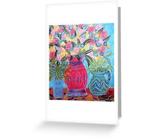 spring flowers on a  table Greeting Card