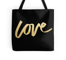 Love Gold Black Typography Tote Bag