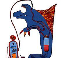 Dolphin, blue, sea, gas, station, comic, kids, love, ocean by jblitlemonsters