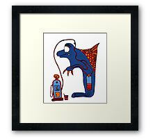 Dolphin, blue, sea, gas, station, comic, kids, love, ocean Framed Print