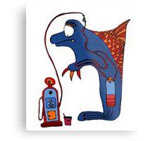 Dolphin, blue, sea, gas, station, comic, kids, love, ocean Metal Print