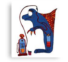 Dolphin, blue, sea, gas, station, comic, kids, love, ocean Canvas Print