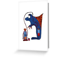 Dolphin, blue, sea, gas, station, comic, kids, love, ocean Greeting Card