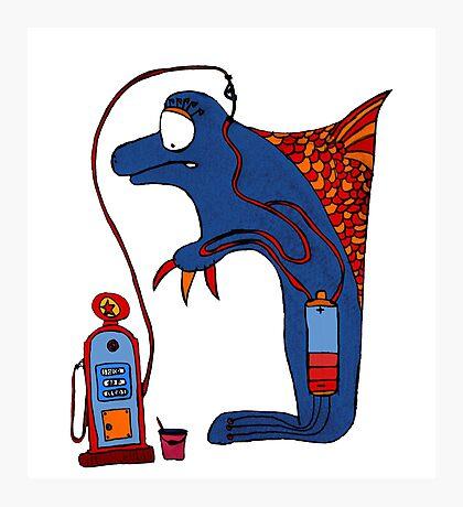 Dolphin, blue, sea, gas, station, comic, kids, love, ocean Photographic Print