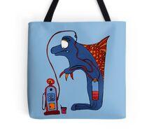 Dolphin, blue, sea, gas, station, comic, kids, love, ocean Tote Bag