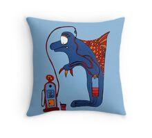 Dolphin, blue, sea, gas, station, comic, kids, love, ocean Throw Pillow