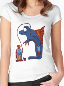 Dolphin, blue, sea, gas, station, comic, kids, love, ocean Women's Fitted Scoop T-Shirt