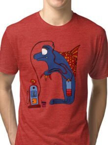 Dolphin, blue, sea, gas, station, comic, kids, love, ocean Tri-blend T-Shirt