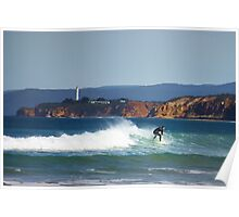 Surfing By The Point Poster