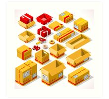 Packaging Objects Isometric Art Print