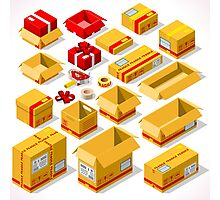 Packaging Objects Isometric Photographic Print
