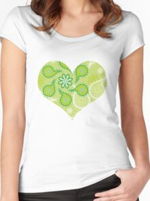 Green texture with flowers and paisley Women's Fitted Scoop T-Shirt