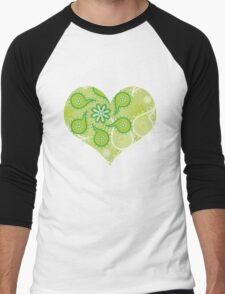Green texture with flowers and paisley Men's Baseball ¾ T-Shirt