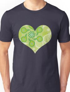 Green texture with flowers and paisley Unisex T-Shirt
