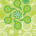 Green texture with flowers and paisley by -ashetana-