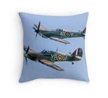 BBMF Hurricane IIc LF363 and Spitfire LF.XVIe TE311 Throw Pillow