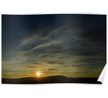 Sunset over Pendle Hill Poster