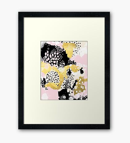 Simone - abstract painting gold foil trendy hipster pastel pink modern trendy colors decor college Framed Print