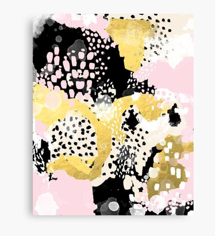 Simone - abstract painting gold foil trendy hipster pastel pink modern trendy colors decor college Canvas Print