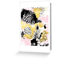 Simone - abstract painting gold foil trendy hipster pastel pink modern trendy colors decor college Greeting Card