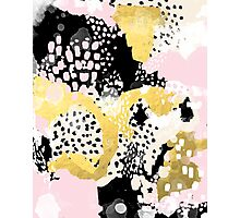 Simone - abstract painting gold foil trendy hipster pastel pink modern trendy colors decor college Photographic Print