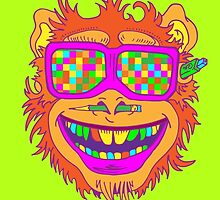A funny monkey face colored glasses.  by #pavel petrov  art2