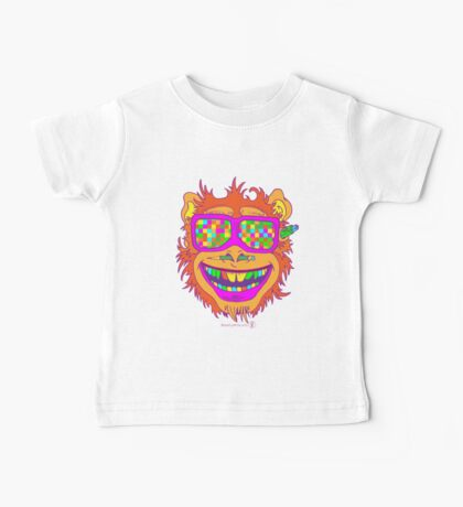 A funny monkey face colored glasses.  Baby Tee