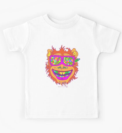 A funny monkey face colored glasses.  Kids Tee