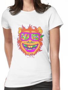 A funny monkey face colored glasses.  Womens Fitted T-Shirt