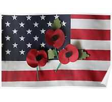 Poppies on a Flag Poster