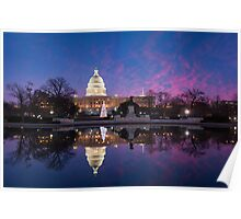 Washington DC United States Capitol Building Holiday Reflections Poster