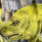 Golden werewolf head by Furiarossa