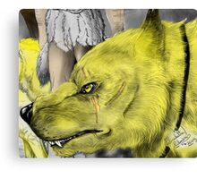 Golden werewolf head Canvas Print