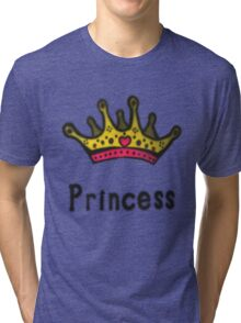 Funny Princess Shirt or Sticker for Girls and Women Tri-blend T-Shirt
