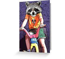 Raccoon on a Big Wheel Greeting Card