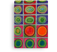 Green Grid filled with Circles and intense Colors Canvas Print