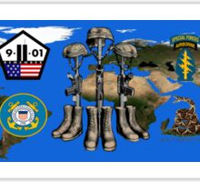 Fallen Soldier Battle Cross Veteran and 9/11 Memorial Wall Painting Sticker