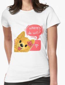 Pom Gets Wifi- Where's da wifi? Womens Fitted T-Shirt