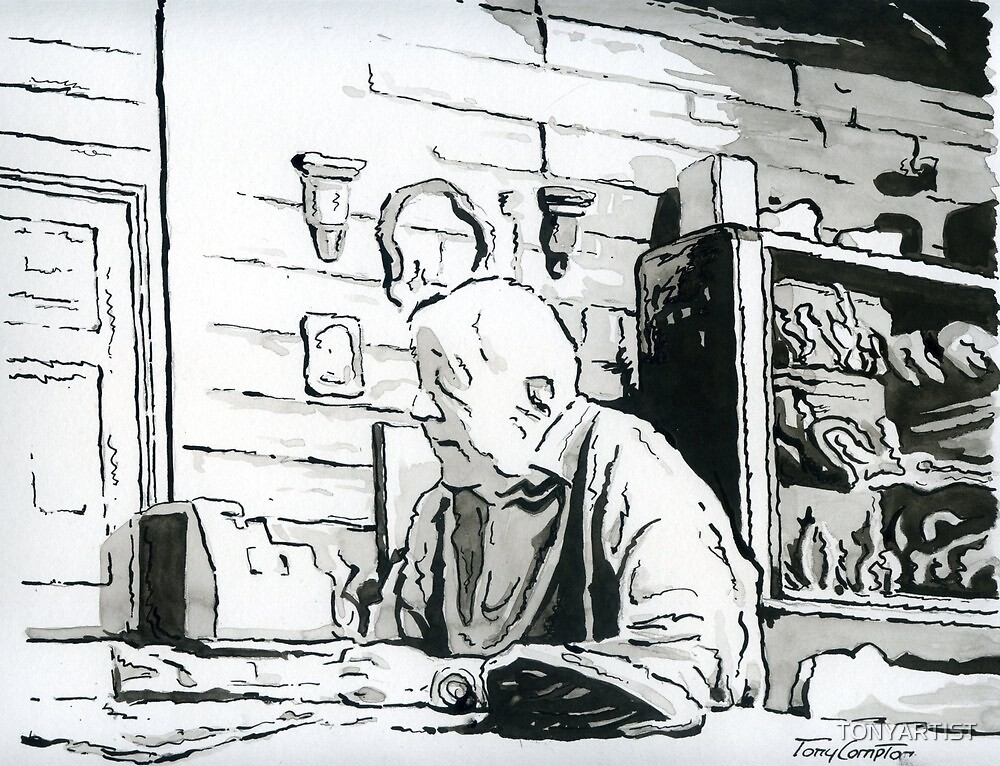 TIRED OLD STORE KEEPER by TONYARTIST