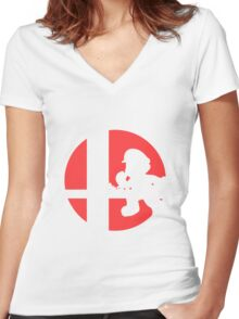 Mario - Super Smash Bros. Women's Fitted V-Neck T-Shirt